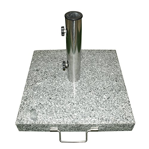 Dilego Nexos Schirmständer Sonnenschirmständer Granit eckig 40x40cm ca. 25kg Edelstahlrohr Griff Transport-Rollen schwarz-weiß grau