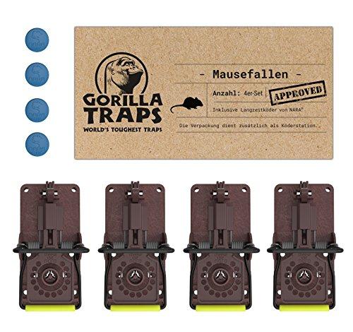 GORILLA TRAPS Mausefallen 4er-Set mit Lockstoff von NARA Verpackung dient als Köderstation Schlagfalle §18 zertifizierte Falle mit Köder