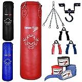 TurnerMAX Bouclier de frappe kickboxing Pro Sac de frappe rempli de boxe sac gants Crochet pour Plafond Pivotant Chaîne MMA Sac de boxe Rouge 3m 4m 5m 1,2 m rouge - Rouge