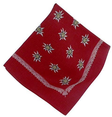 Rotes Nickituch mit Edelweiß-Motiv | Bandana aus 100% Baumwolle | 53 x 53 cm | Halstuch | Teichmann