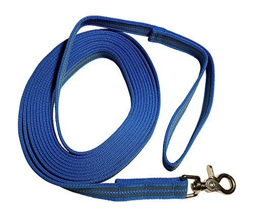 DOGS and MORE - Gummierte Schleppleine/Suchleine/Feldleine mit Reflektionsstreifen => 5 Meter (mit Handschlaufe) - Orange, Blau oder Lila