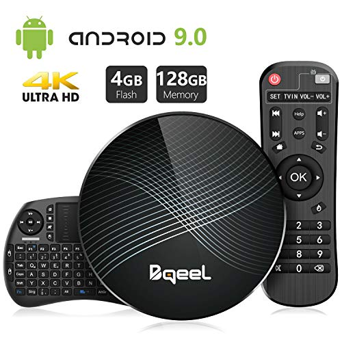 Bqeel Android TV Box Smart Box U1 MAX mit Tastatur【4G+128G】 Android 9.0 TV Box mit RK3328 Quad-Core 64bit Cortex-A53 /WiFi 2.4G/5.0G /Bluetooth 4.0/ 4K HD/ USB 3.0/ H.265 Smart tv Box