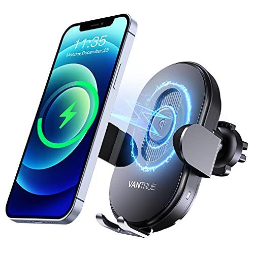 Vantrue Q1 teléfono móvil la ventilación del coche con carga rápida inalámbrica de 15 W, detección inteligente Qi, protección de silicona, USB C, universal para iPhone, Samsung, Huawei, LG, etc.