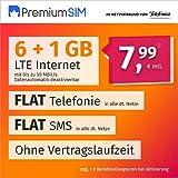 Teléfono móvil PremiumSIM LTE L – sin Tiempo de contratación (Flat Internet 7 GB LTE con máx. 50 MBit/s con Datos automáticos desactivables, telefonía Plana, SMS y UE extranjera, 7,99 Euros/Mes)