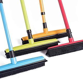 Livedeal - Escoba de goma larga con cerdas para limpiar el pelo de mascotas, gatos, perros, alfombras de madera dura y ventanas, azul