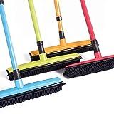 Livedeal - Escoba de goma larga con cerdas para limpiar el pelo de mascotas, gatos, perros, alfombras de madera dura y ventanas, Red