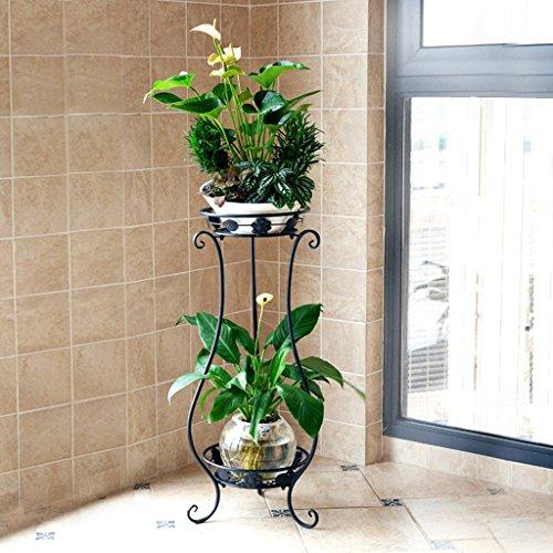 Yu Chuang Xin Balcon européen fleur supports Fer à plusieurs étages salon intérieur plancher vert radis pots de fleurs cadre fleur cadre étagère noir