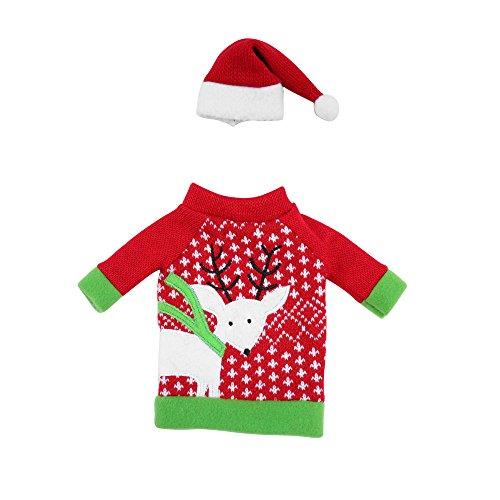 duoying Cubiertas de botella de vino de Navidad, cubierta de suéter de botella de vino de vacaciones con sombrero para decoración de mesa de Navidad