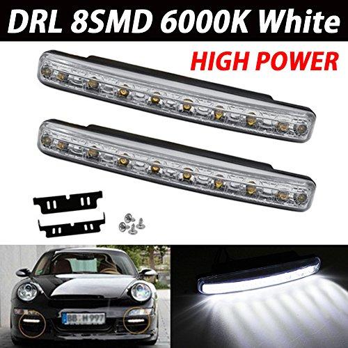 TABEN étanche en aluminium haute puissance 6 W 12 V 6000 K Xenon Blanc Slim COB LED DRL Daylight Driving DRL lumière lampe pour auto voiture SUV berline Coupé véhicule universel (lot de 2)