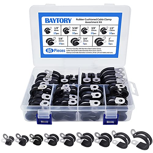 BAYTORY 65pcs Cable Clamps Assortment Kit, 304 Stainless Steel Rubber Cushion Pipe Clamps in 7 Sizes 1/4