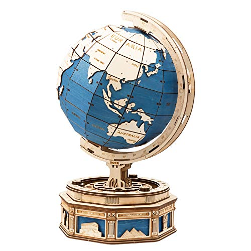 ROKR 3D Wooden Puzzle for Adults Build Your Own World Globe Model Kit Creative Gift for Kids on Birthday/Christmas Day