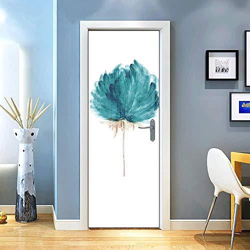 KEXIU 3D Flores de acuarela azul PVC fotografía adhesivo vinilo puerta pegatina cocina baño decoración mural 77x200cm