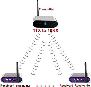 Measy AV550-9 Wireless AV Sender 5.8G Dual Antenna 1 Transmitter 9 Receiver for CCTV Camera,Playstation,IR Remote 500M/1630FT
