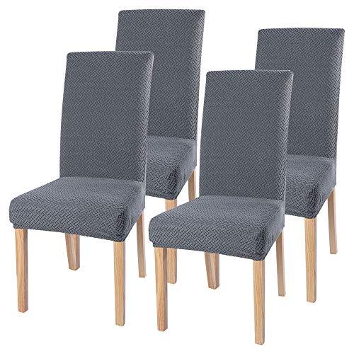 SearchI Stuhlhussen 4er 6er Elastische Set Stuhlbezug Universal Stretchhusse Moderne Husse Dekoration Stuhlüberzug für Stuhl Esszimmer (Silber-Grau, 4er Set)