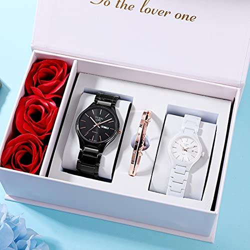 YUNHE Amante Reloj Pareja Reloj de cerámica Negro Blanco par RelojPruebaResistencia al Agua Elegante Relojcon Caja de regalo-80052 Pareja
