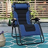 PHI VILLA XL Oversize Zero Gravity Chair Padded Recliner Oversize Lounge Chair with Free Cup Holder,Support 350 LBS (Blue)