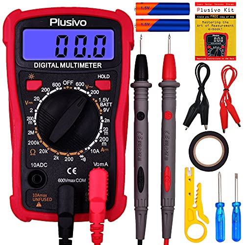 Multimetro digitale - Voltmetro e amperometro, tester per misurare resistenza, tensione CA-CC di batterie per auto, diodi, con test di continuità e sonde di misurazione - Inclusi utili accessori