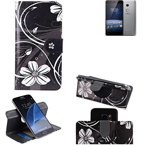 K-S-Trade® Schutzhülle Für TP-LINK Neffos X1 Lite Hülle 360° Wallet Case Schutz Hülle ''Flowers'' Smartphone Flip Cover Flipstyle Tasche Handyhülle Schwarz-weiß 1x