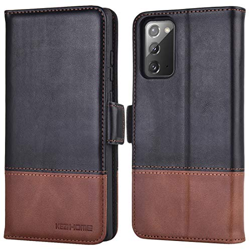 KEZiHOME Samsung Galaxy Note 20 Case, Genuine Leather [RFID Blocking] Note 20 5G Wallet Case Flip Folio Case with Card Slot, Stand Holder, Magnetic Closure for Galaxy Note 20 (Black/Brown)