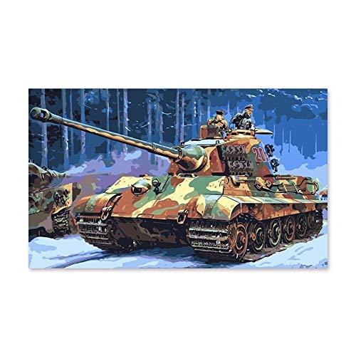PAINTYTY Pintura por Números Arte Pintura por Número Tanques Militares De La Segunda Guerra Mundial Pintura Digital Regalo Hecho A Mano Decoración Color Relleno Colo