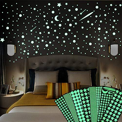 Stelle Adesivi da Parete Fluorescenti e Luna, 1272 Pezzi Decorazioni Stickers Stelline Luminose Cameretta Soffitto per la Camera da Letto dei Bambini