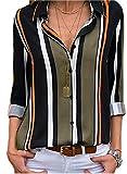 ShallGood Mujer Blusa Camisa Casual De Manga Larga Color Block Stripe Button Camisetas Tops Cuello En V OtoñO Primavera Moda Rayas Gasa Blusa con Botones Negro ES 40