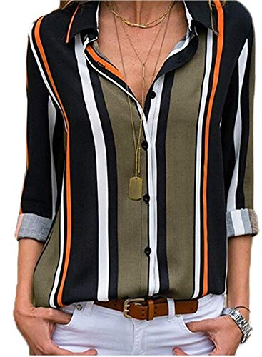 ShallGood Mujer Blusa Camisa Casual De Manga Larga Color Block Stripe Button Camisetas Tops Cuello En V OtoñO Primavera Moda Rayas Gasa Blusa con Botones