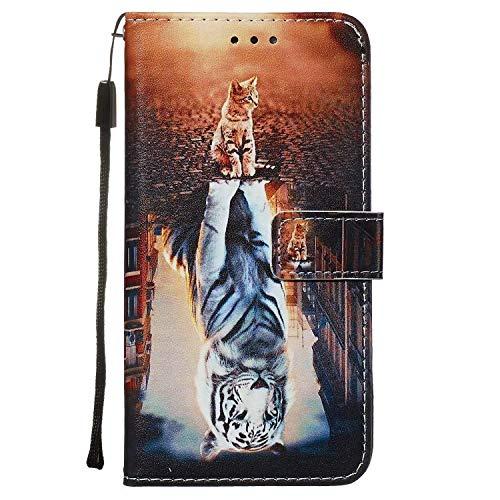 Nadoli Leder Hülle für Huawei P40 Pro,Bunt Katze Tiger Malerei Ultra Dünne Magnetverschluss Standfunktion Handyhülle Tasche Brieftasche Etui Schutzhülle