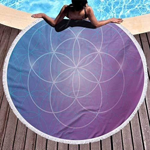 Tapis de plage, Couverture de serviette de plage ronde épaisse Géométrie sacrée Geometry Enfants Serviette ronde Formes rondes dans l'axe de l'espace Deux dimensions Artefact historique Image pour la