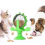Molinillo de viento para gatos, plato giratorio, comedero con ventosa y agujero antigoteo, utilizado para juguetes interactivos para gatos y gatitos en interiores (verde)