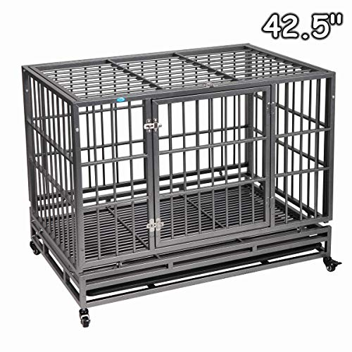 """COZIWOW 37""""/42.5"""" Heavy Duty Dog Kennels and Crates for Large Medium Dogs, Hard-Sided Escape Proof Pet Dog Cage for Travel Indoor Outdoor with Safety Lock,Floor Tray,Double Doors"""