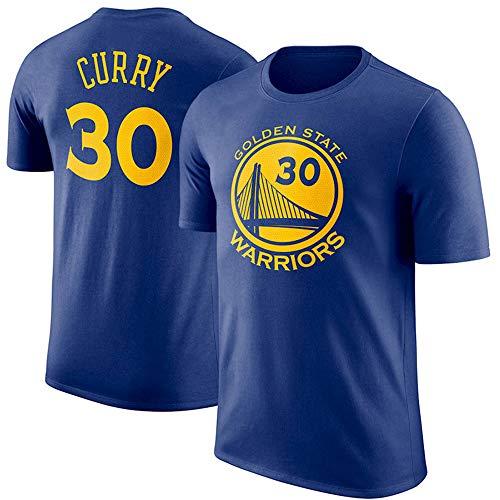 Camiseta De Jersey Curry para Hombre, Golden State Warriors # 30 Camiseta Retro De Manga Corta, Tops De Baloncesto De Manga Corta De Moda Juvenil,Azul,M