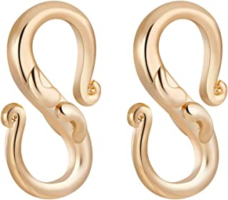 BENECREAT 10 PCS 18K Gold Plated S-Hook Clasps Necklace Clasp Jewelry Findings for DIY Jewelry Making