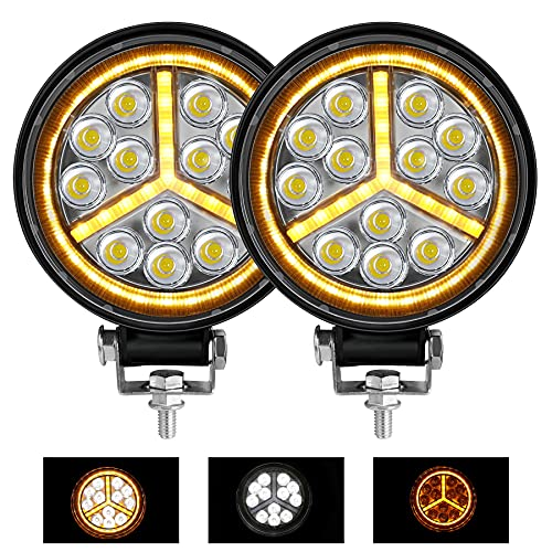 Zmoon 4.5 inch Round LED Light Bar 2PCS White & Amber Fog Lights 4500LM Round LED Offroad Lights with Emergency Strobe Function for Jeep/Tractor/Trailer/Truck/Boat/ATV/UTV/SUV...