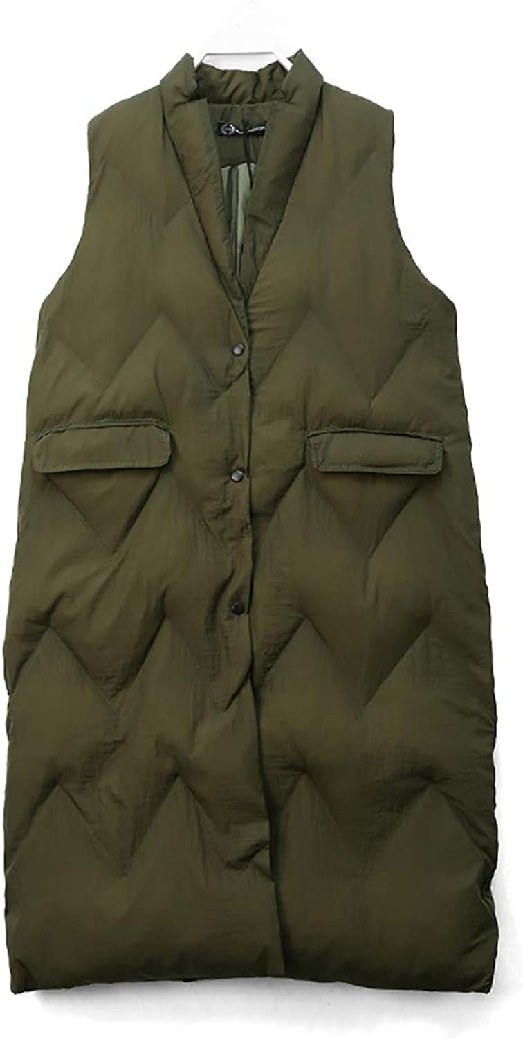 Women's Sleeveless Down Cotton Vest Long Section Lapels Loose Winter Warm Sports Vest Can Accommodate,ArmyGreen,F