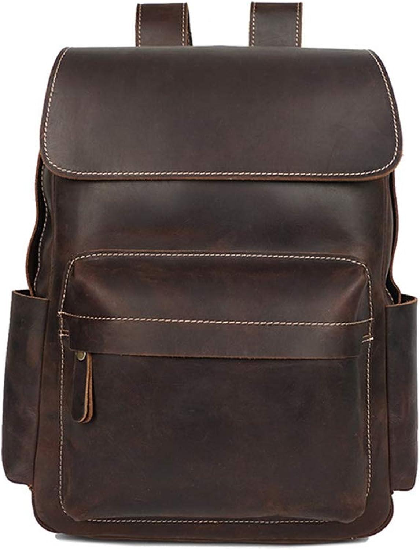 RABILTY Men's Backpack Genuine Leather Laptop Waterproof Travel Bag MultiFunction Handbag (color   Dark Brown)