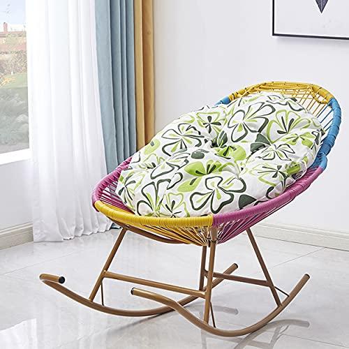 Sedia a Dondolo per reclinabile Rattan con Cuscino Morbido. Poltrona da Giardino reclinabili Presidenza di Vimini per Il Tempo Libero per Bambini Adulti Balcone per la casa all'aperto