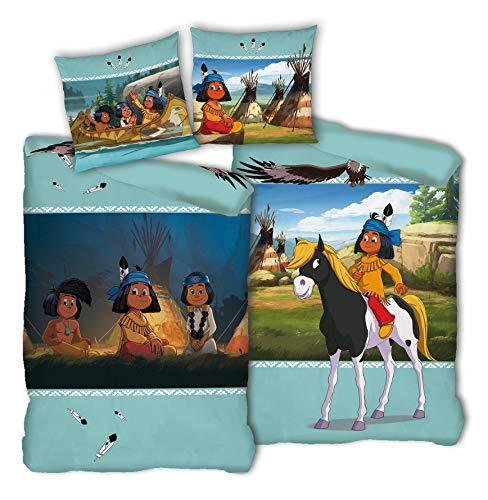 Tex idea Yakari der kleine Indianer Wende Bettwäsche-Set 135 x 200 80 x 80cm, 100% Baumwolle in Linon Qualität Beste Freunde