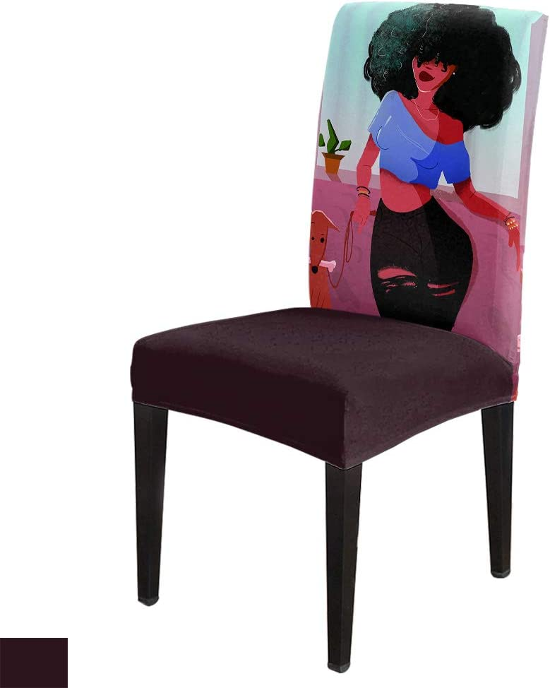 Chair Covers for Dining Room Max 46% OFF African Cute Woman Dog Holding Pin Detroit Mall