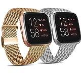 Mugust 2 Correas Compatibles con Fitbit Versa 2 Correa La Capacidad de Bloqueo Única de Correa de Metal de Acero Inoxidable es Adecuada para Hombres y Mujeres (S, Plata + Oro Rosa)