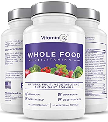 VitaminIQ Multivitamin for Women, Whole Food Vitamin, Antioxidant Rich Supplement for Essential Nutrients, Natural Calcium, Magnesium, Selenium, Vitamin A, B6, C, D3, E, K, 120 Vegetarian Capsules