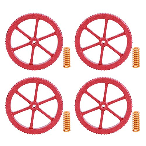 (4Pcs) Aluminium Alloy Hand Twisted Leveling Nut Spring Kit Replacement Accessories Fit for Bed Leveling