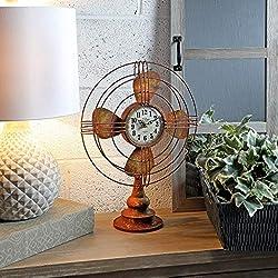Metal Table Fan Clock 18 Brown