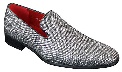 Rossellini Herrenschuhe Silber Gold Schwarz Glänzend Slip On Design Party Stil