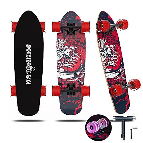 PHNHOLUN Cruiser Skateboard, 27 x 8 Zoll Skateboards für Kinder Erwachsene, 7 lagiges kanadisches Ahorn Double Kick Deck Concave Trick Skate Board, blinkende LED-Räder mit All-in-One Skate T-Tool