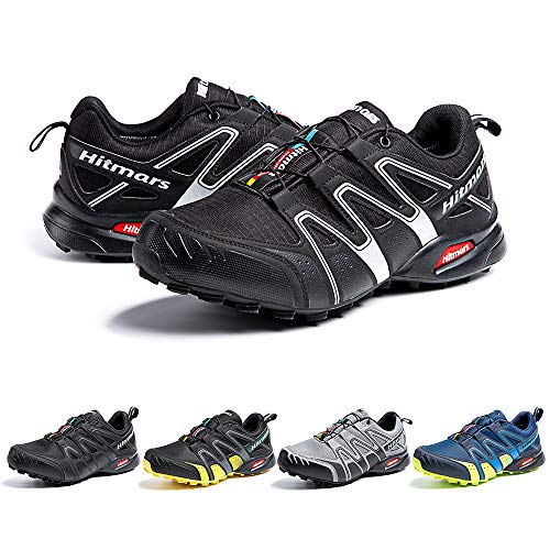 Zapatillas De Trail Running Impermeables para Hombre Mujer Zapatillas Trekking Zapatos Senderismo Deporte Negro Blanco Talla44