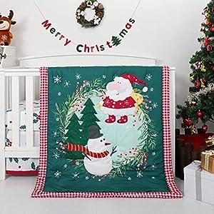 crib bedding and baby bedding tillyou luxury 4 pieces christmas crib bedding set (embroidered crib comforter, crib sheets, crib skirt) - microfiber printed nursery bedding set for girls boys, santa claus