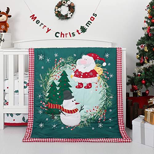 TILLYOU Luxury 4 Pieces Christmas Crib Bedding Set (Embroidered Crib Comforter, Crib Sheets, Crib Skirt) - Microfiber Printed Nursery Bedding Set for Girls Boys, Santa Claus