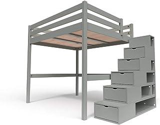 ABC MEUBLES - Lit Mezzanine Sylvia avec escalier Cube Bois - Cube - Gris, 160x200