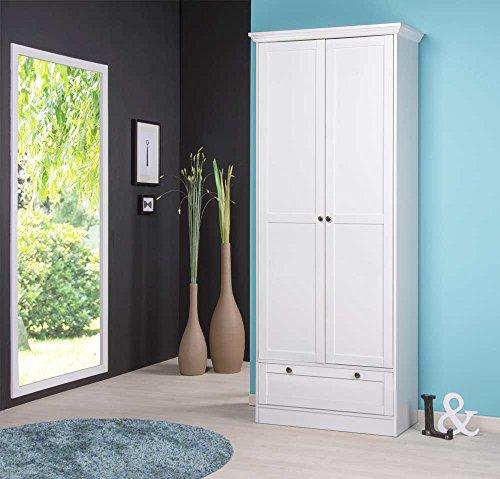 lifestyle4living Mehrzweckschrank in weiß, mit 2 Türen, 1 Schubkasten, 5 Einlegeböden, Metallknöpfe im Vintage-Look dezenter Sockelblende, Maße: B/H/T ca. 80/200/39 cm